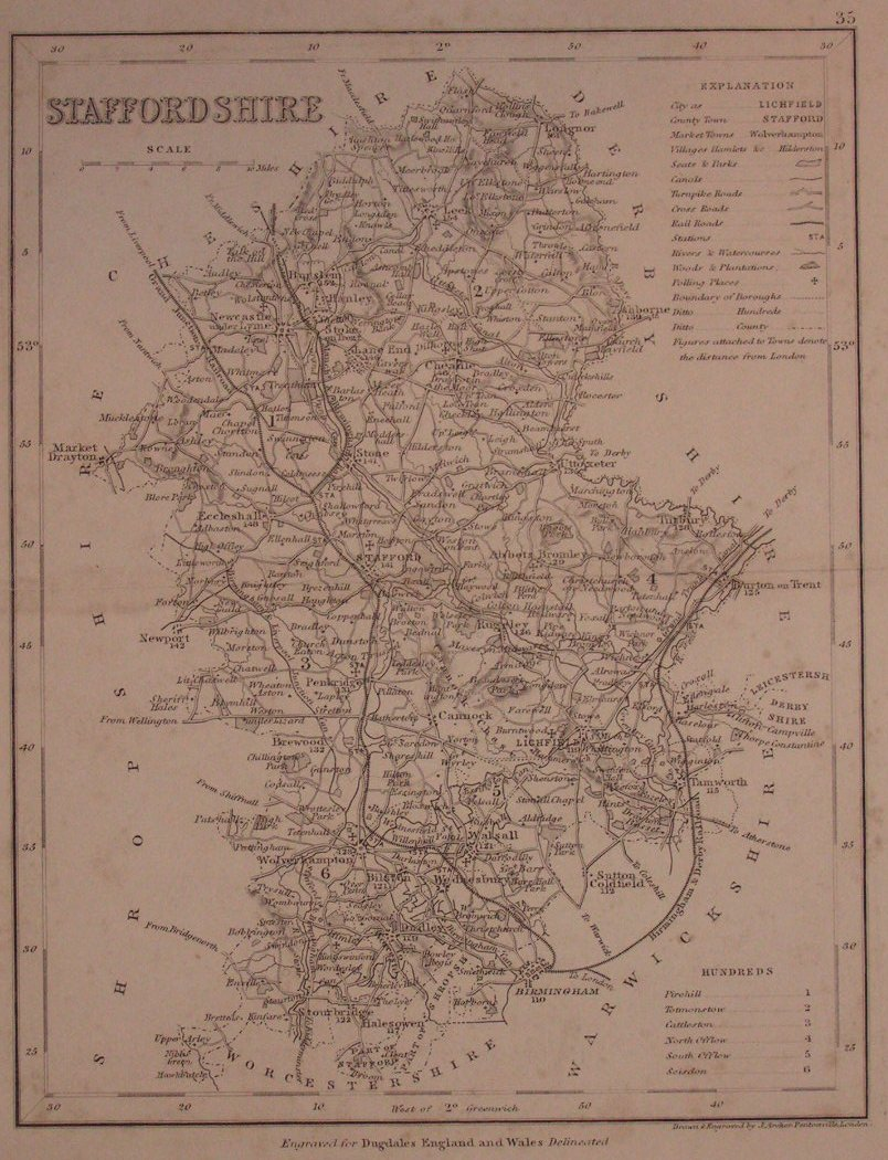 Map of Staffordshire - Archer