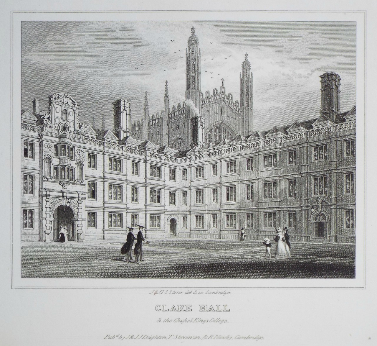 Print - Clare Hall & the Chapel of King's College. - Storer