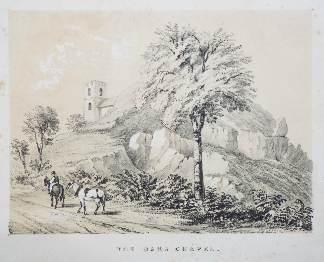 Lithograph - The Oaks Chapel. - Palmer