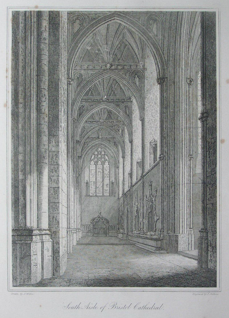 Etching - South Aisle of Bristol Cathedral. - Skelton