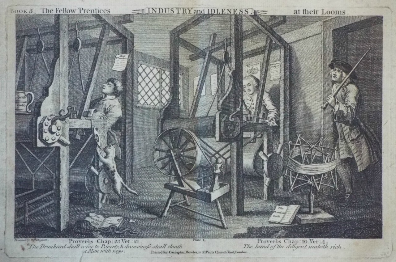 Print - Industry & Idleness. The Fellow 'Prentices at their Looms.