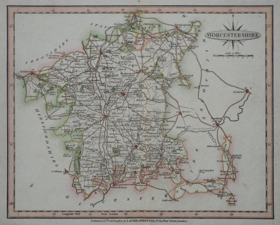 Map of Worcestershire - Laurie & Whittle
