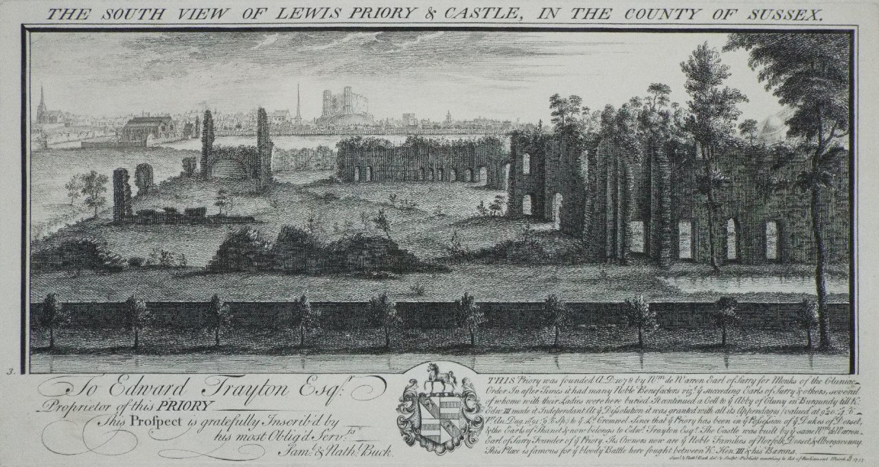 Print - The South View of Lewis Priory & Castle, in the County of Sussex. - Buck