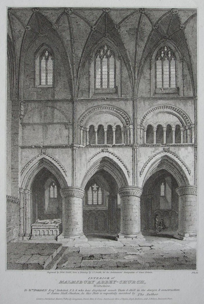 Print - Interior of Malmsbury Abbey-Church, Wiltshire Pl.X - Smith