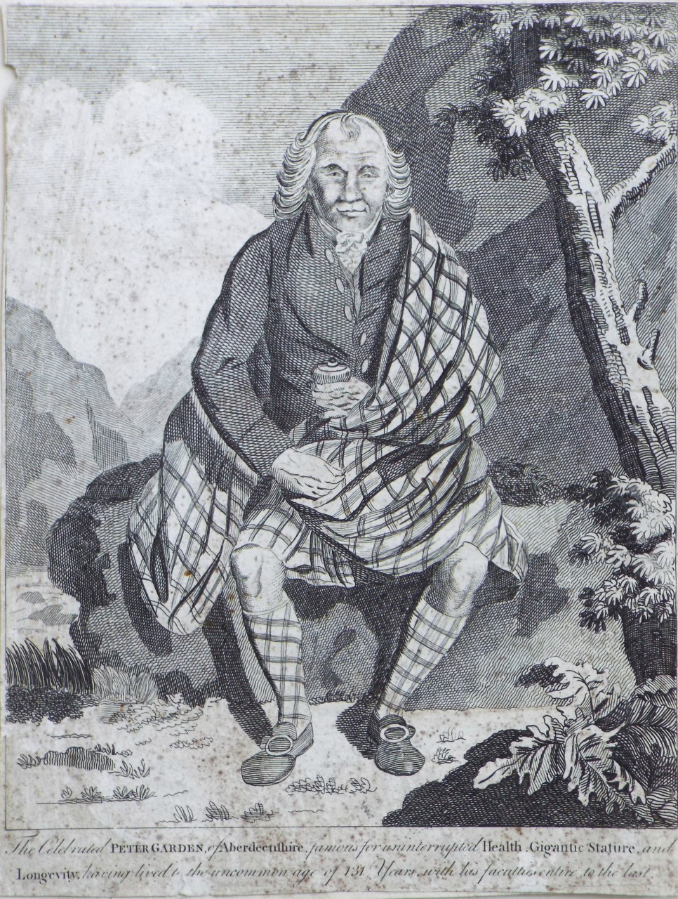 Print - The Celebrated Peter Garden, of Aberdeenshire, famous for uninterrupted Health, Gigantic Stature, and Longevity, having lived to the uncommonl age of 131 Years, with his faculties entire to the last.