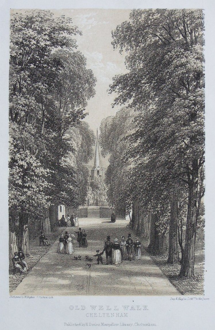 Lithograph - Old Well Walk, Cheltenham - Day