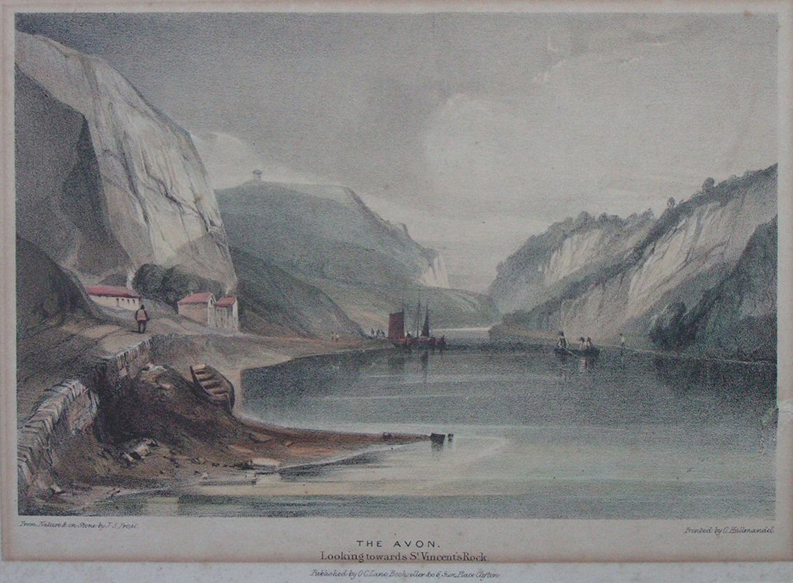 Lithograph - The Avon. Looking towards St. Vincent's Rock - Prout