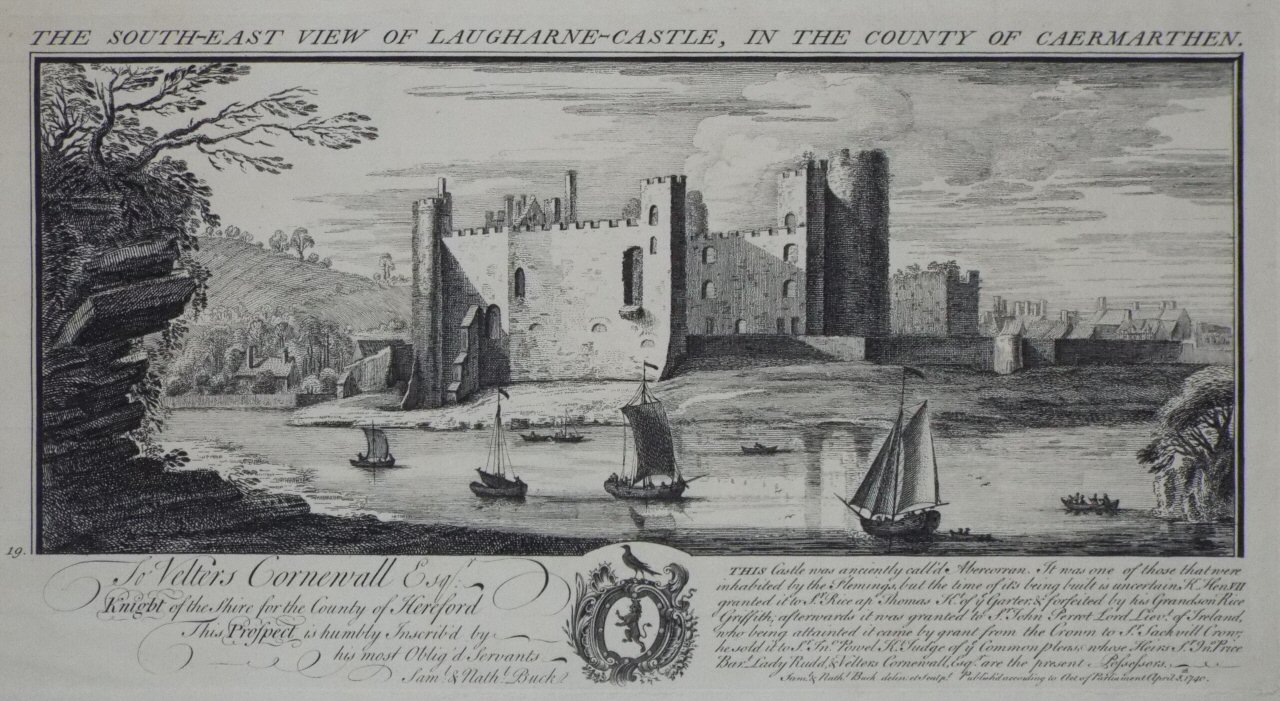 Chromo-lithograph - The South-East View of Laugharne-Castle, in the County of Carmarthen, - Buck