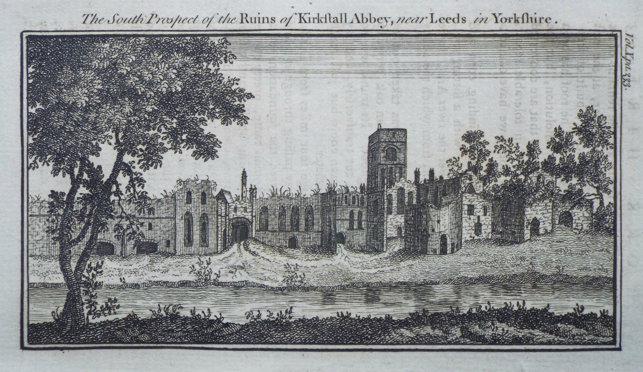 Print - The South Prospect of the Ruins of Kirkstall Abbey, near Leeds in Yorkshire.