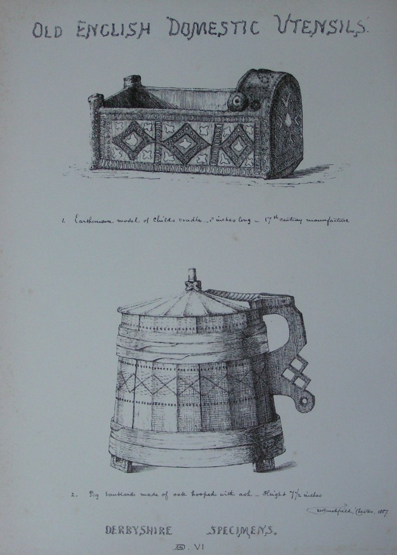 Lithograph - Old English Domestic Utensils. Derbyshire Specimes