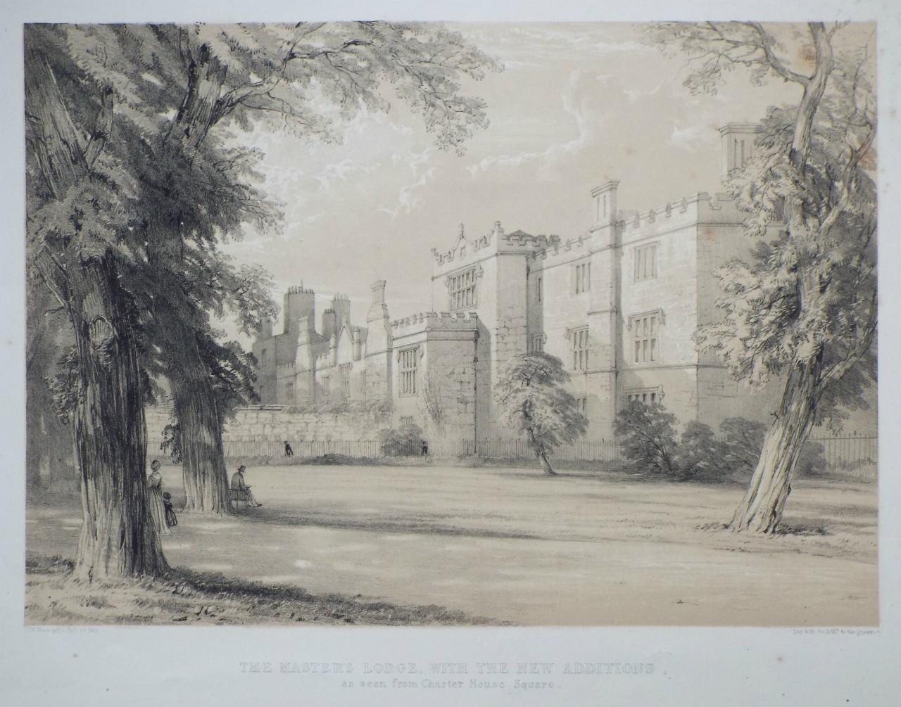 Lithograph - The Master's Lodge, with the New Additions, as seen from Charter House Square. - Radclyffe