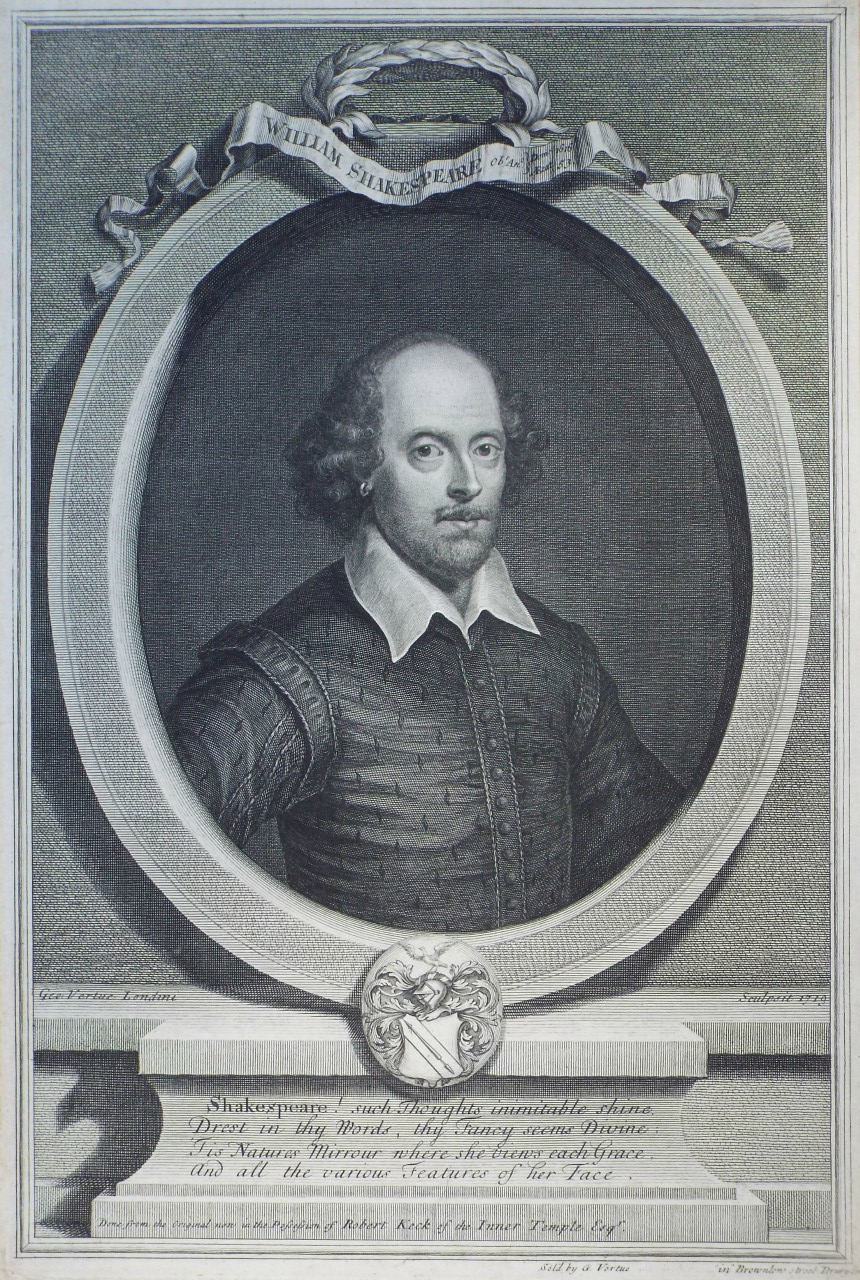 Print - William Shakespeare Obt. Ano. Dom 1616 Aetat 53. - Sold