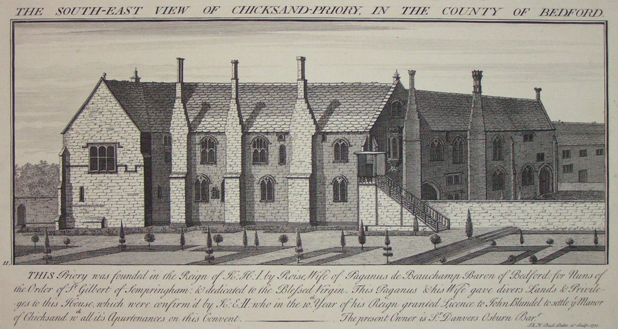Print - The South-East View of Chicksand-Priory, in the County of Bedford. - Buck