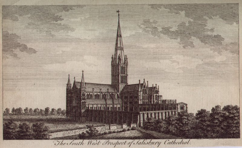 Print - The South West Prospect of Salisbury Cathedral.
