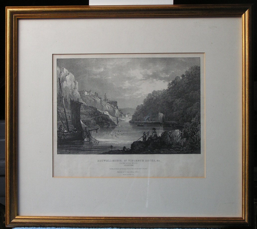 Lithograph - Hot-Well House, St. Vincent Rocks, &c from Leigh Wood, Clifton - Gauci