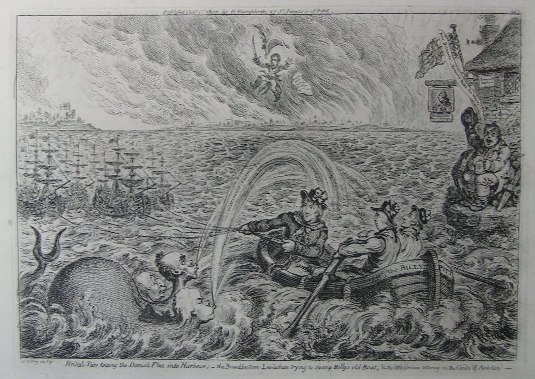 Etching - British Tars towing the Danish Fleet into Harbour:- the Broadbottom Leviathan trying to swamp Billy's old Boat, & the little Corsican tottering on the Clouds of Ambition - Gillray