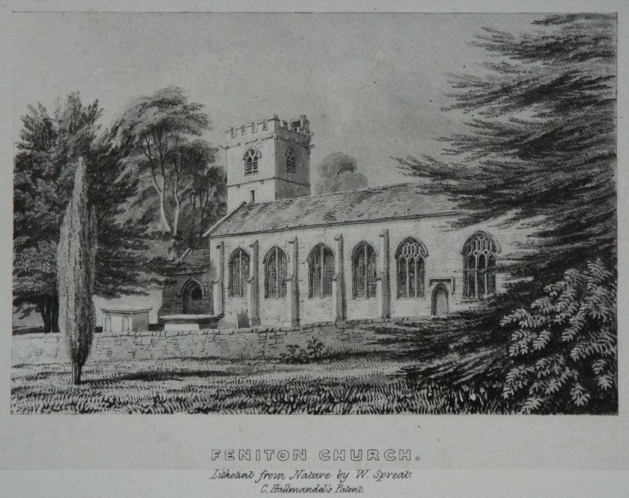 Lithograph - Feniton Church. - Spreat