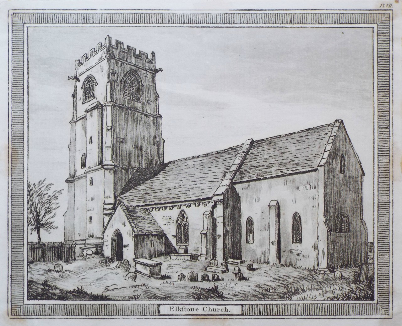 Etching with aquatint - Elkstone Church.