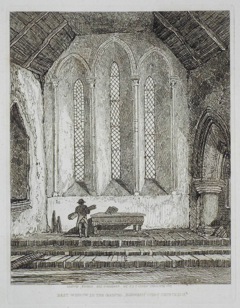 Etching - East Window in the Chancel, Burnham Overy Church. - Cotman