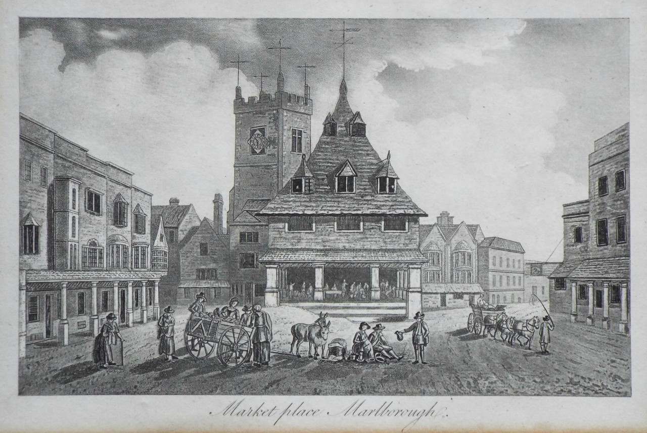Aquatint - Market place, Marlborough. - Robertson