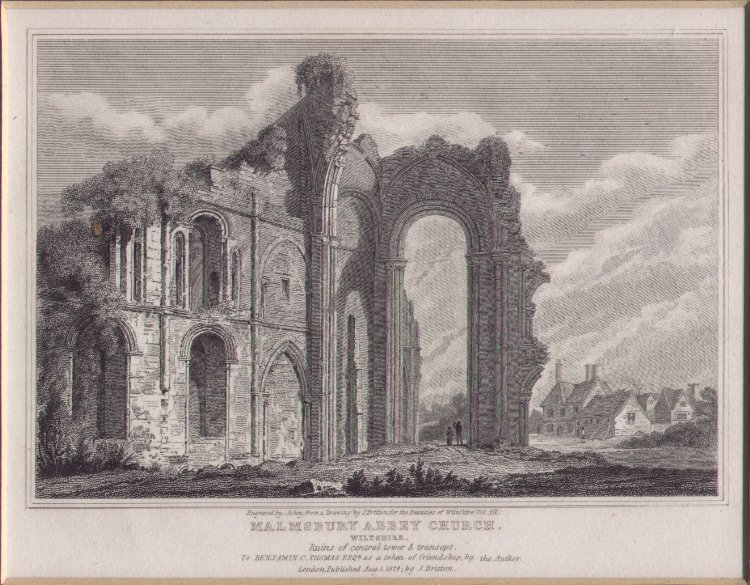 Print - Malmsbury Abbey Church, Wiltshire. Ruins of central tower & transept -