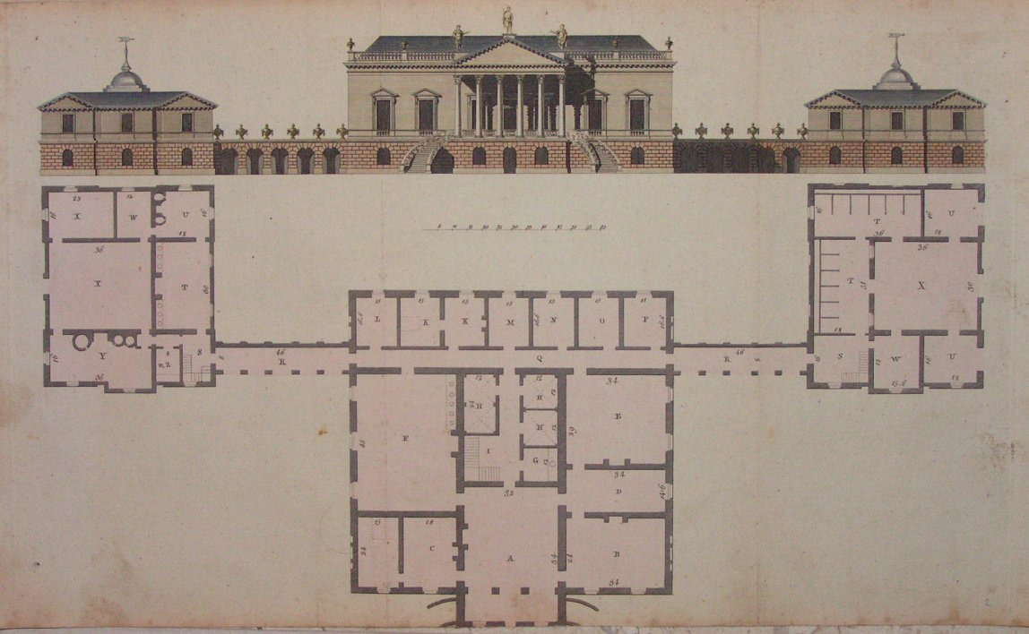 Antique print palladian mansion plan elevation for Palladian style house plans