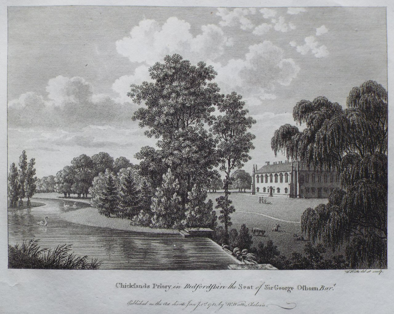 Print - Chicksands Priory in Bedfordshire the Seat of Sir George Osborn Bart. - Watts