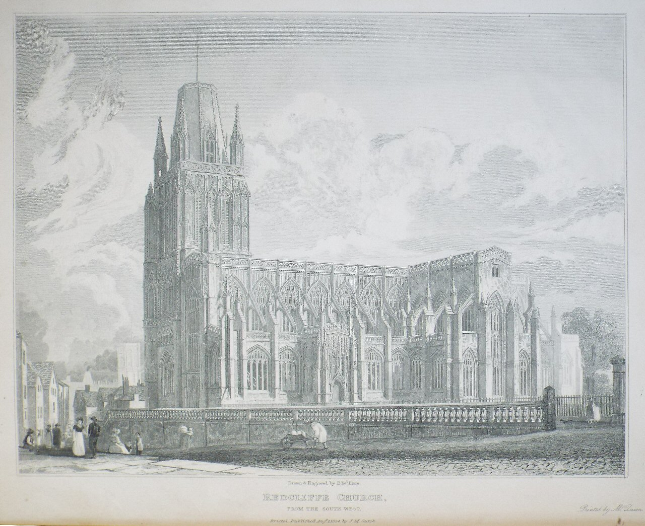 Print - Redcliffe Church, from the South West. - Blore