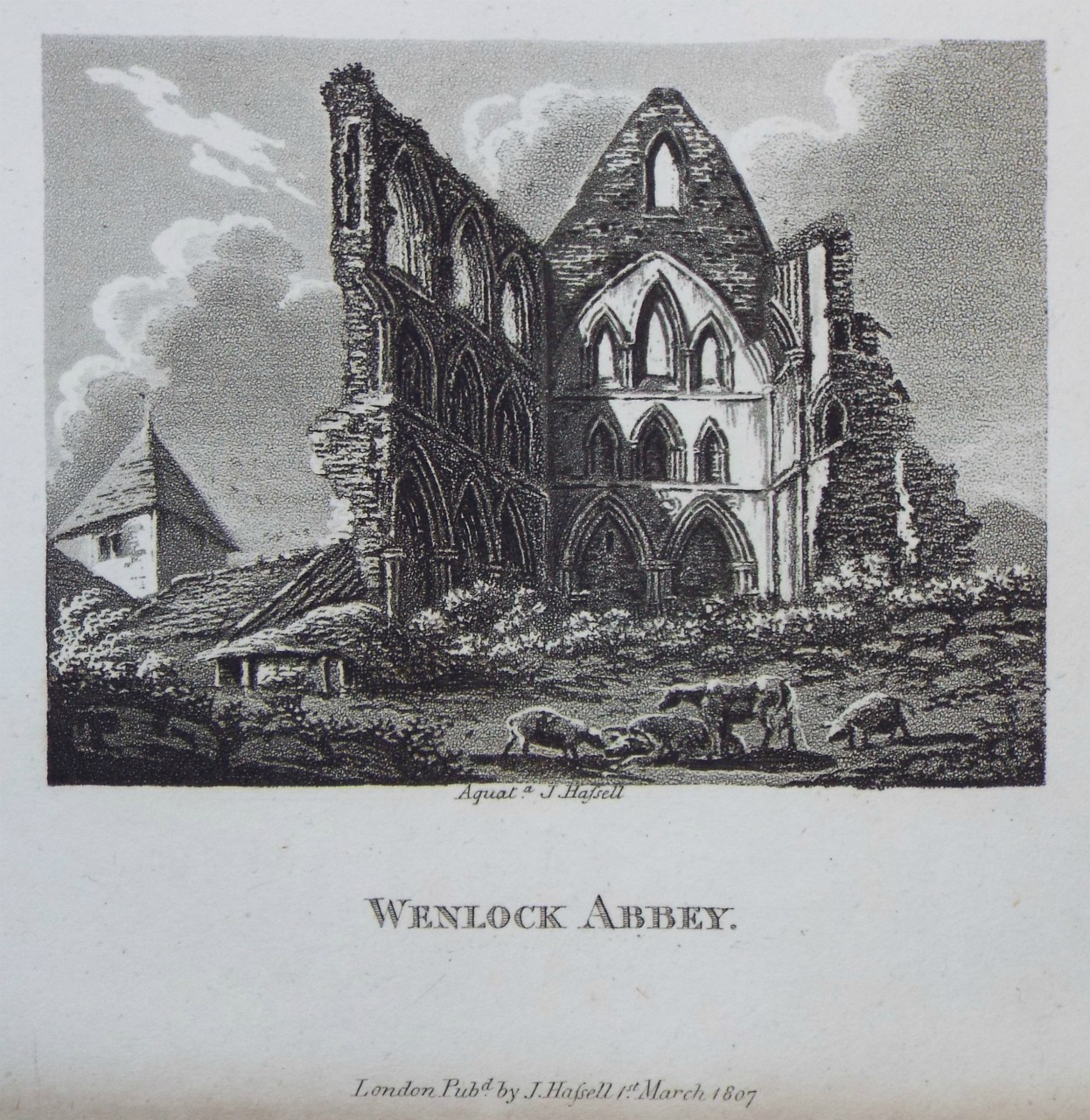 Aquatint - Wenlock Priory. - Hassell