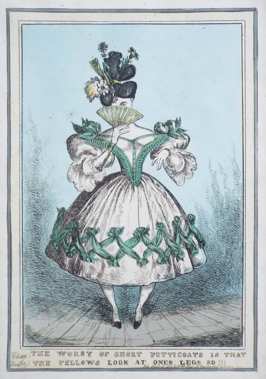 Etching - The Worst of Short Petticoats is that the Fellows look at one's legs so !!! - Heath