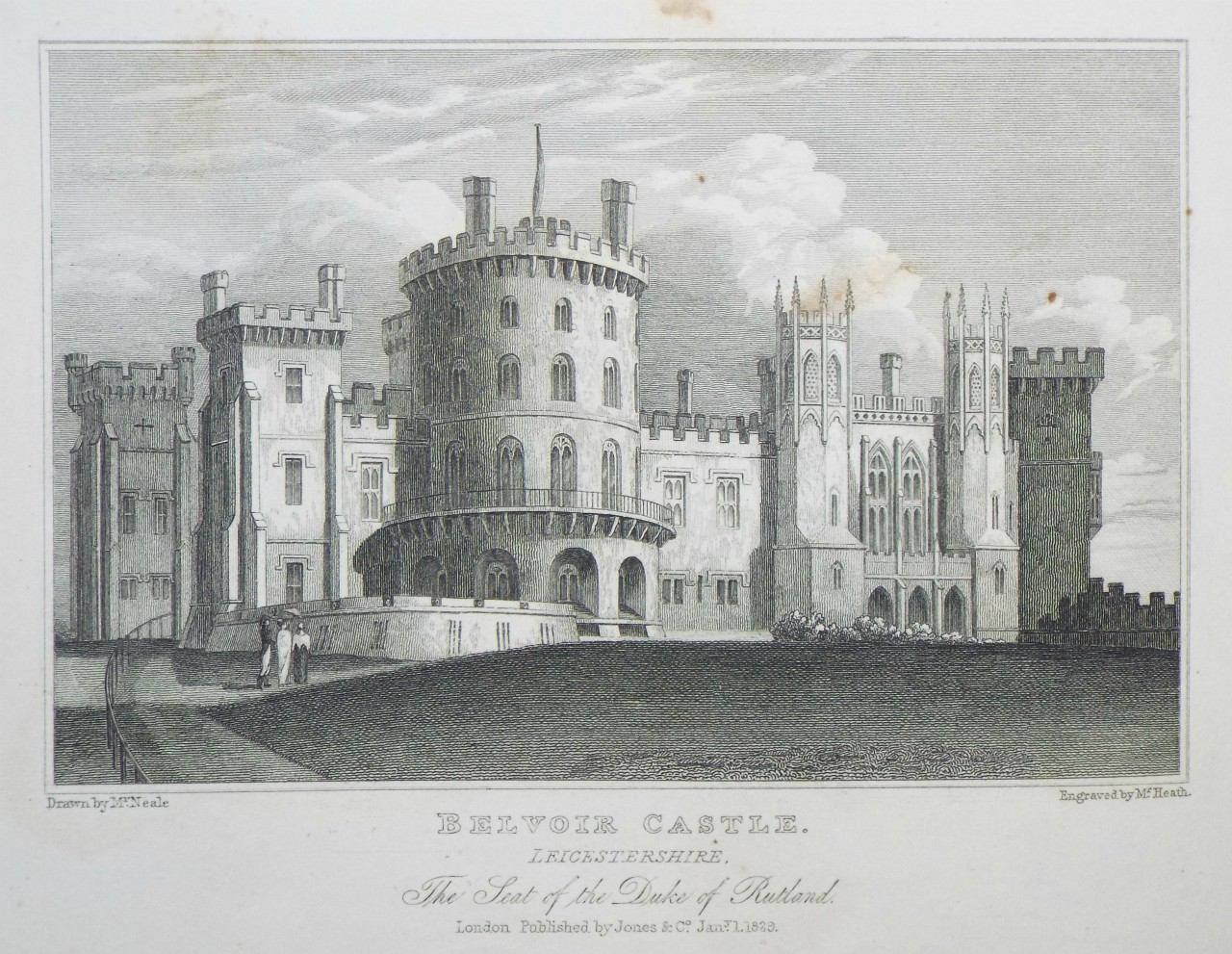 Print - Belvoir Castle, Leicestershire. The Seat of the Duke of Rutland. -