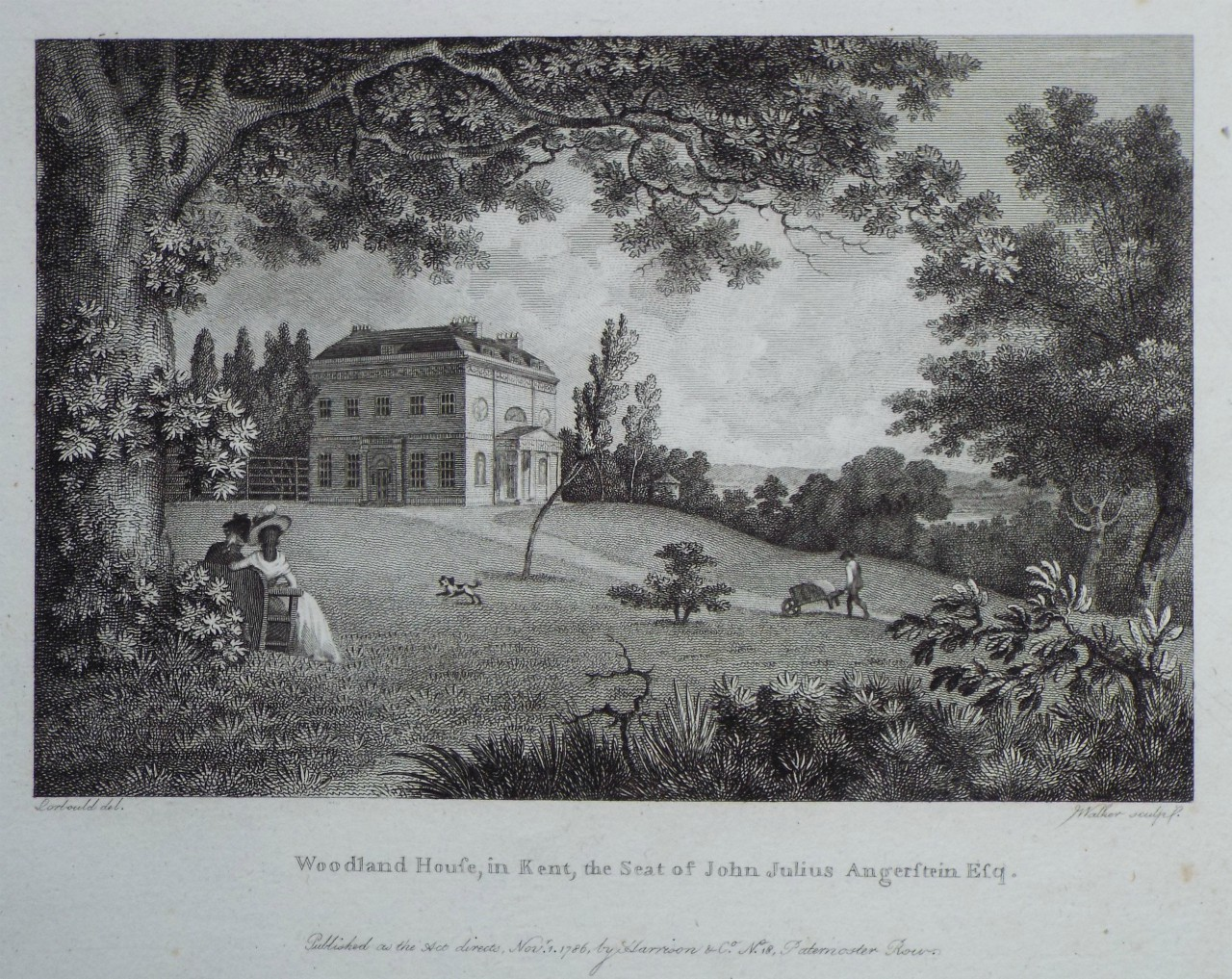 Print - Woodland House, in Kent, the Seat of John Julius Angerstein Esq. -