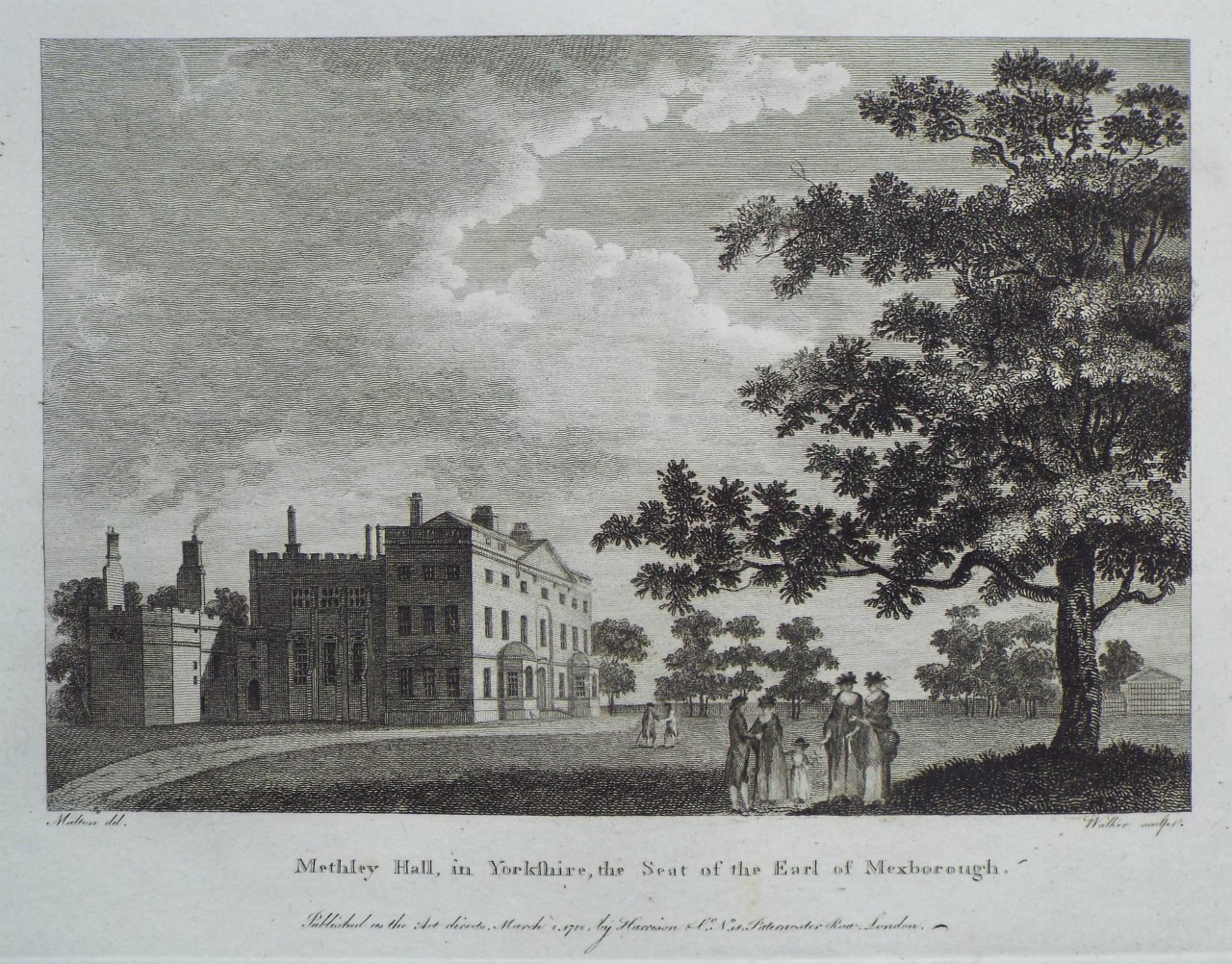 Print - Methley Hall, in Yorkshire, the Seat of the Earl of Mexborough. -
