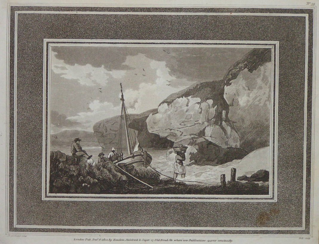 Aquatint - (Beach with boats and smugglers) -