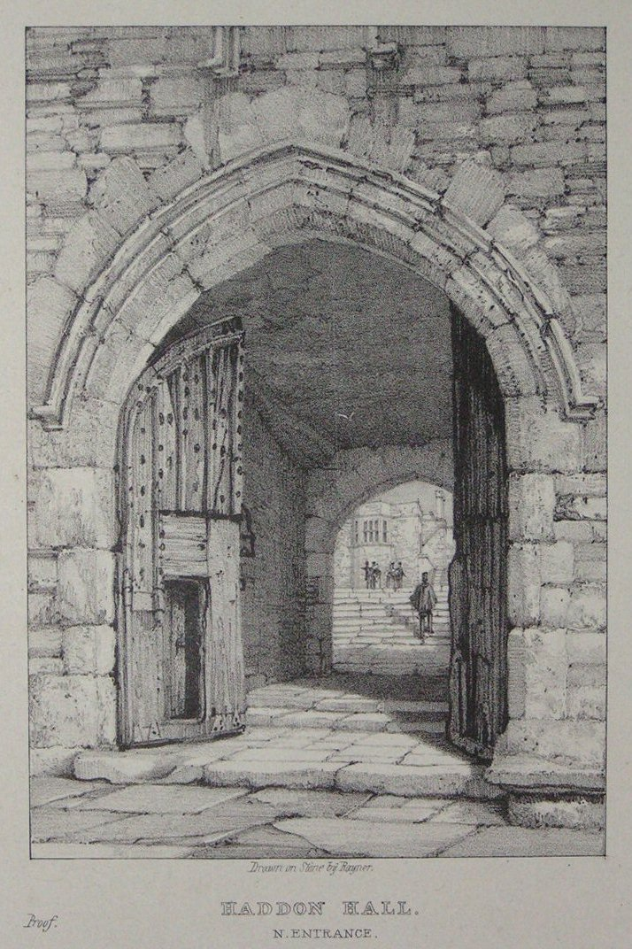 Lithograph - Haddon Hall N. Entrance -