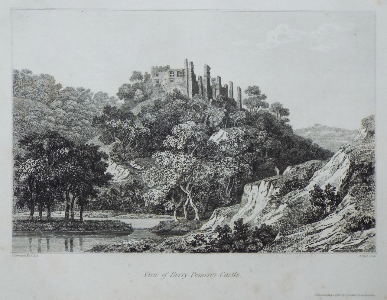 Print - View of Berry Pomeroy Castle. - Nash