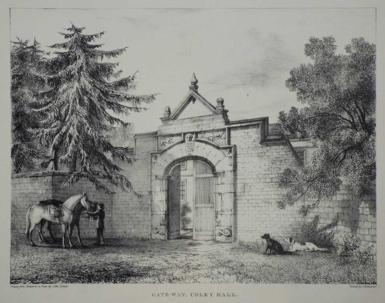 Lithograph - Gate-way, Coley Hall. - Horner