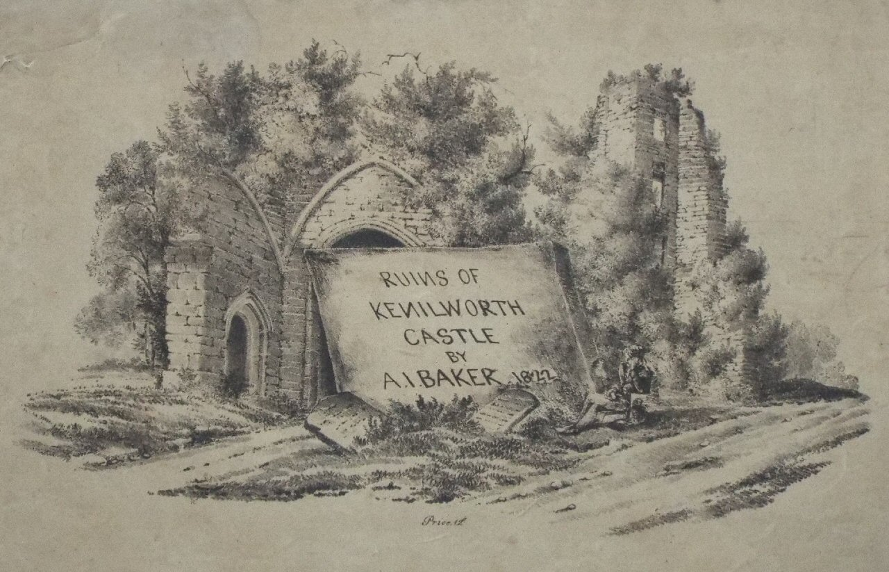 Lithograph - Ruins of Kenilworth Castle by A. I. Baker 1822 Price 12s - Finch