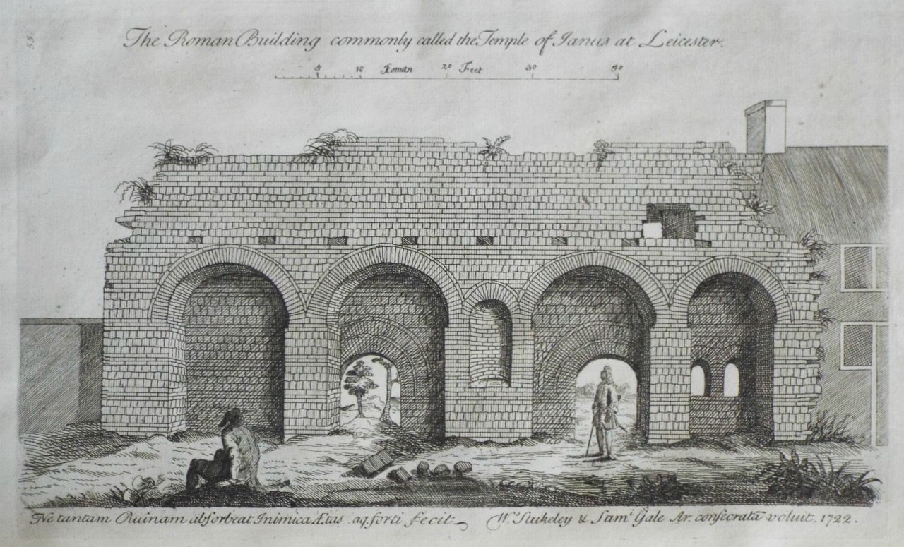 Print - The Roman Building commonly called the Temple of Janus at Leicester.