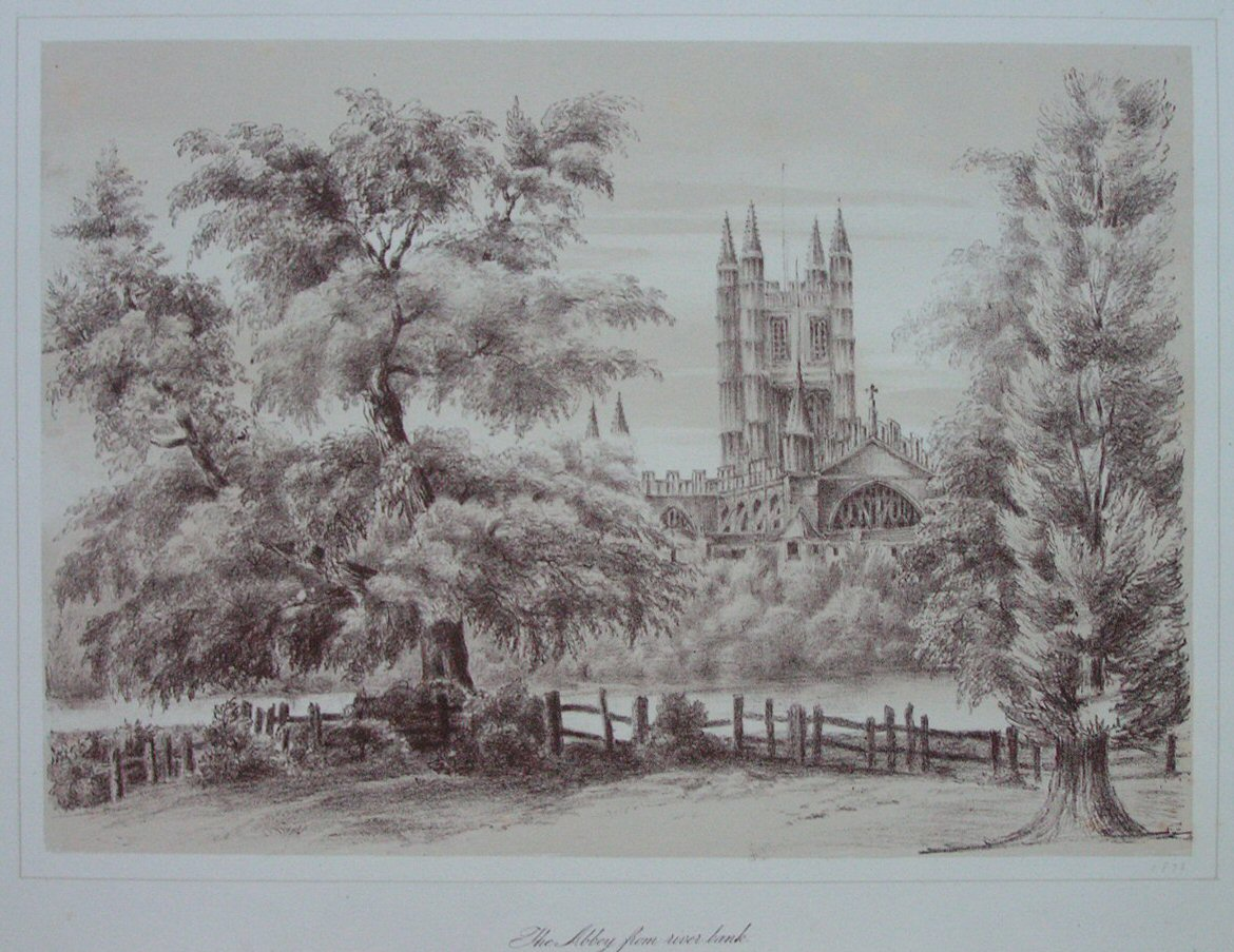 Lithograph - The Abbey from river bank