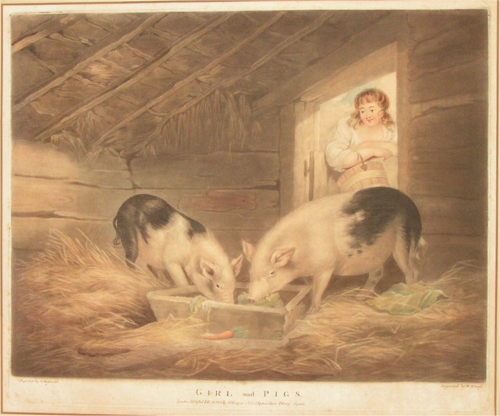 Mezzotint - Girl and Pigs - Ward