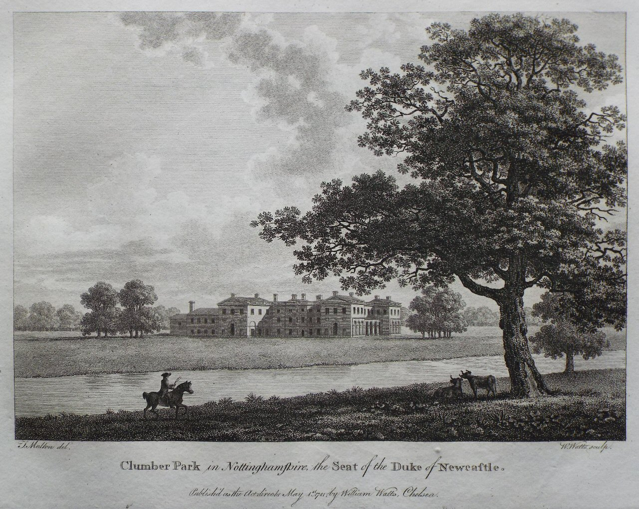 Print - Clumber Park in Nottinghamshire, the Seat of the Duke of Newcastle. - Watts