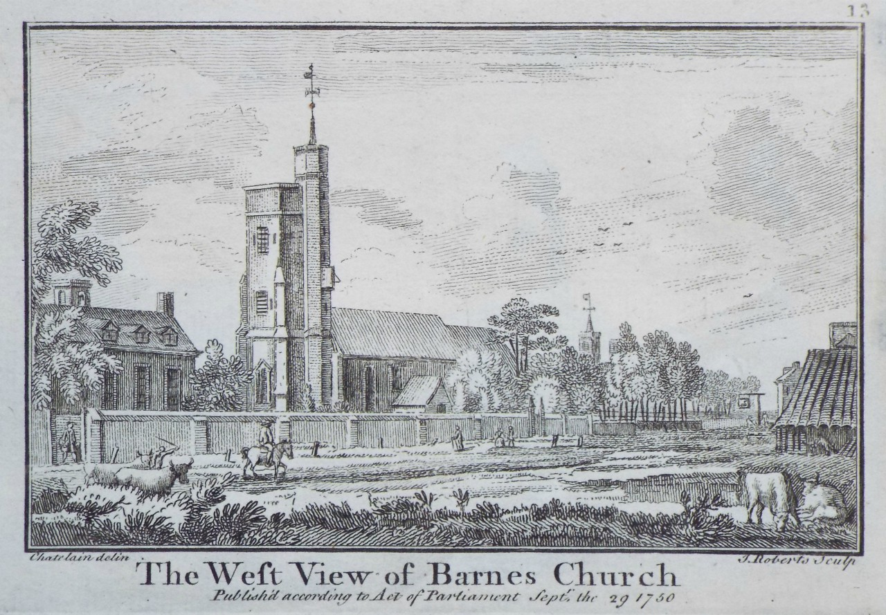 Print - The West View of Barnes Church - Roberts