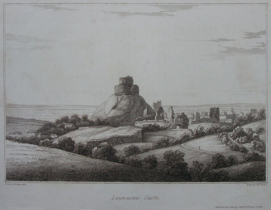 Print - Launceston Castle. - Byrne