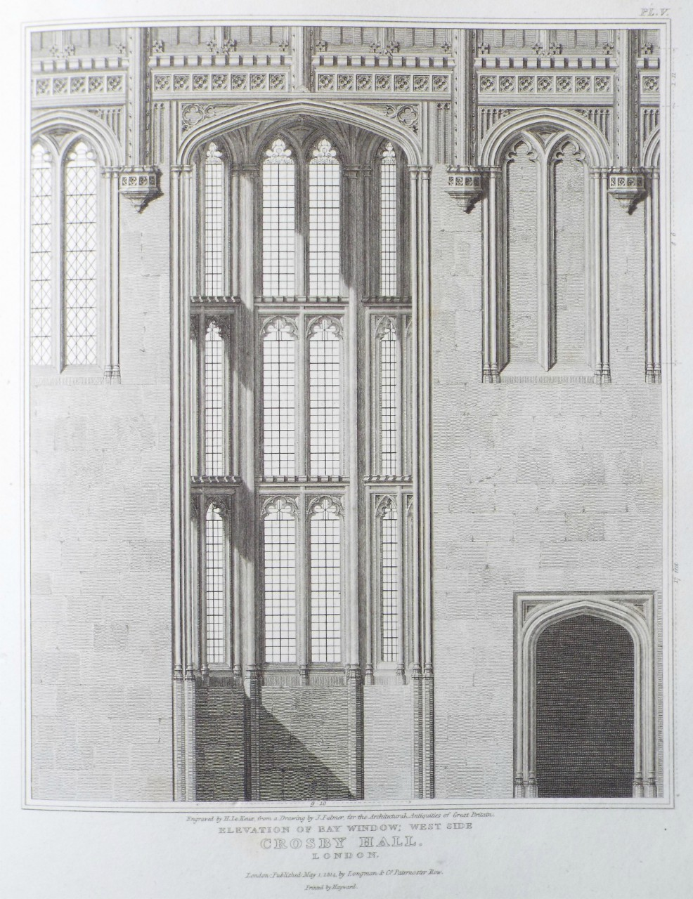 Print - Elevation of Bay Window: West Side Crosby Hall, London. - Le
