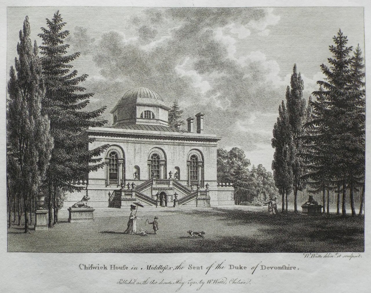 Print - Chiswick House in Middlesex, the Seat of the Duke of Devonshire. - Watts