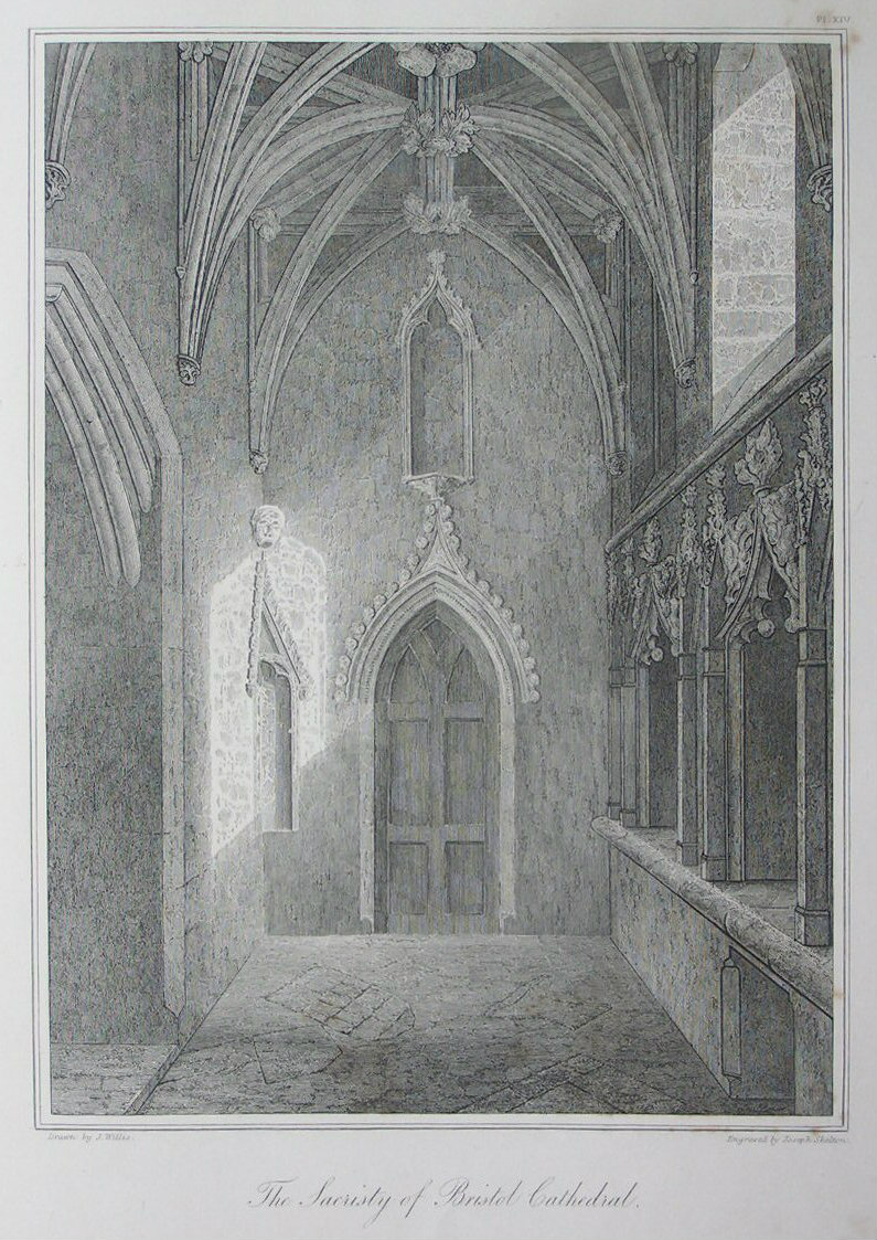 Etching - The Sacristy of Bristol Cathedral. - Skelton