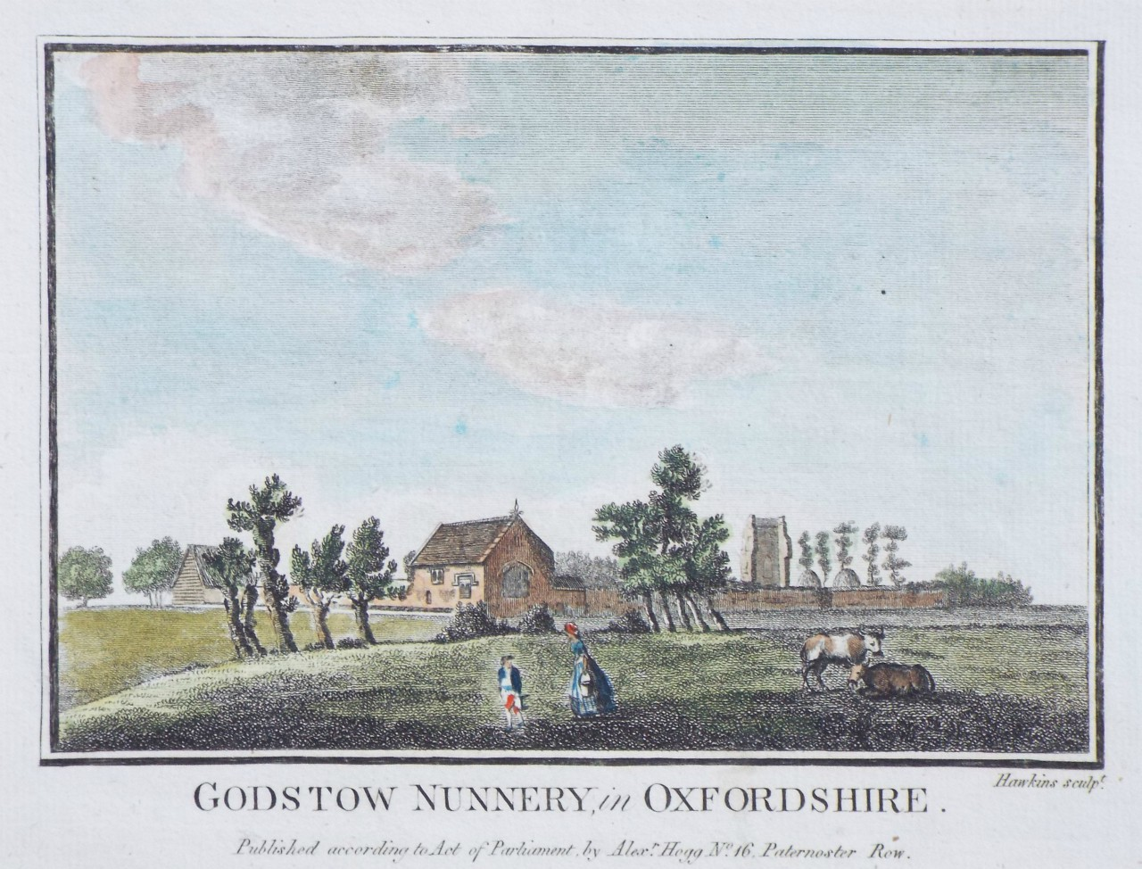 Print - Godstow Nunnery, in Oxfordshire. -