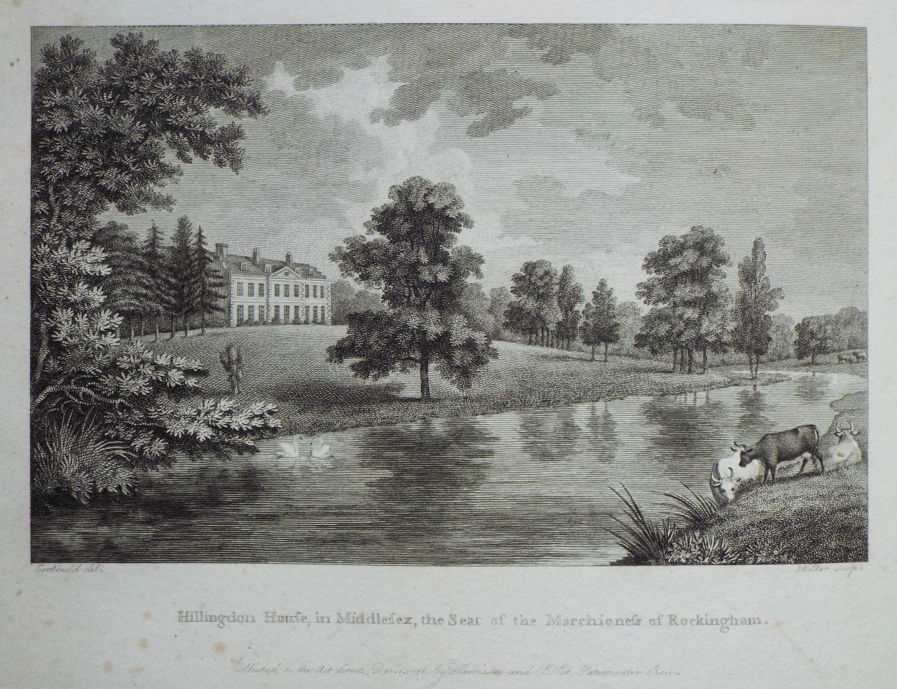 Print - Hillingdon House, in Middlesex, the Seat of the Marchioness of Rockingham. -