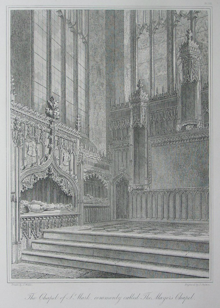 Etching - The Chapel of St. Mark, commonly called The Mayor's Chapel. - Skelton